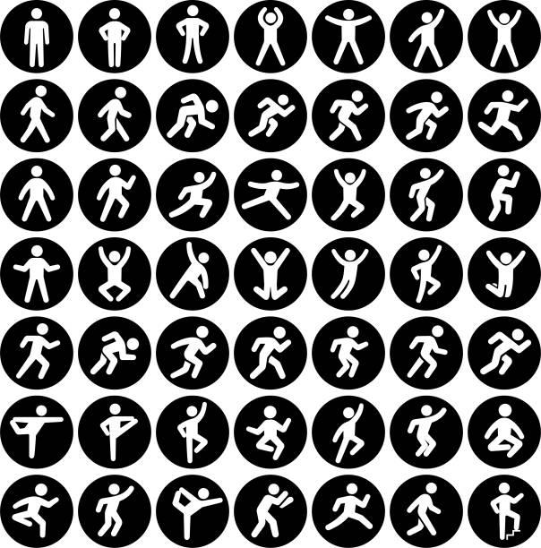 bildbanksillustrationer, clip art samt tecknat material och ikoner med människor i rörelse aktiv livsstil vektor ställ svart ikonknapparna - människoarm