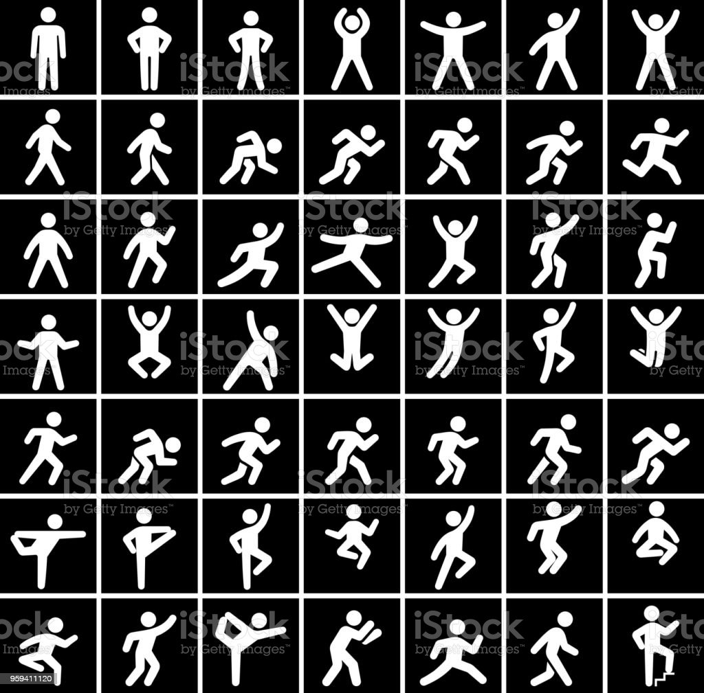 People in motion Active Lifestyle Vector Icon Set in Black vector art illustration