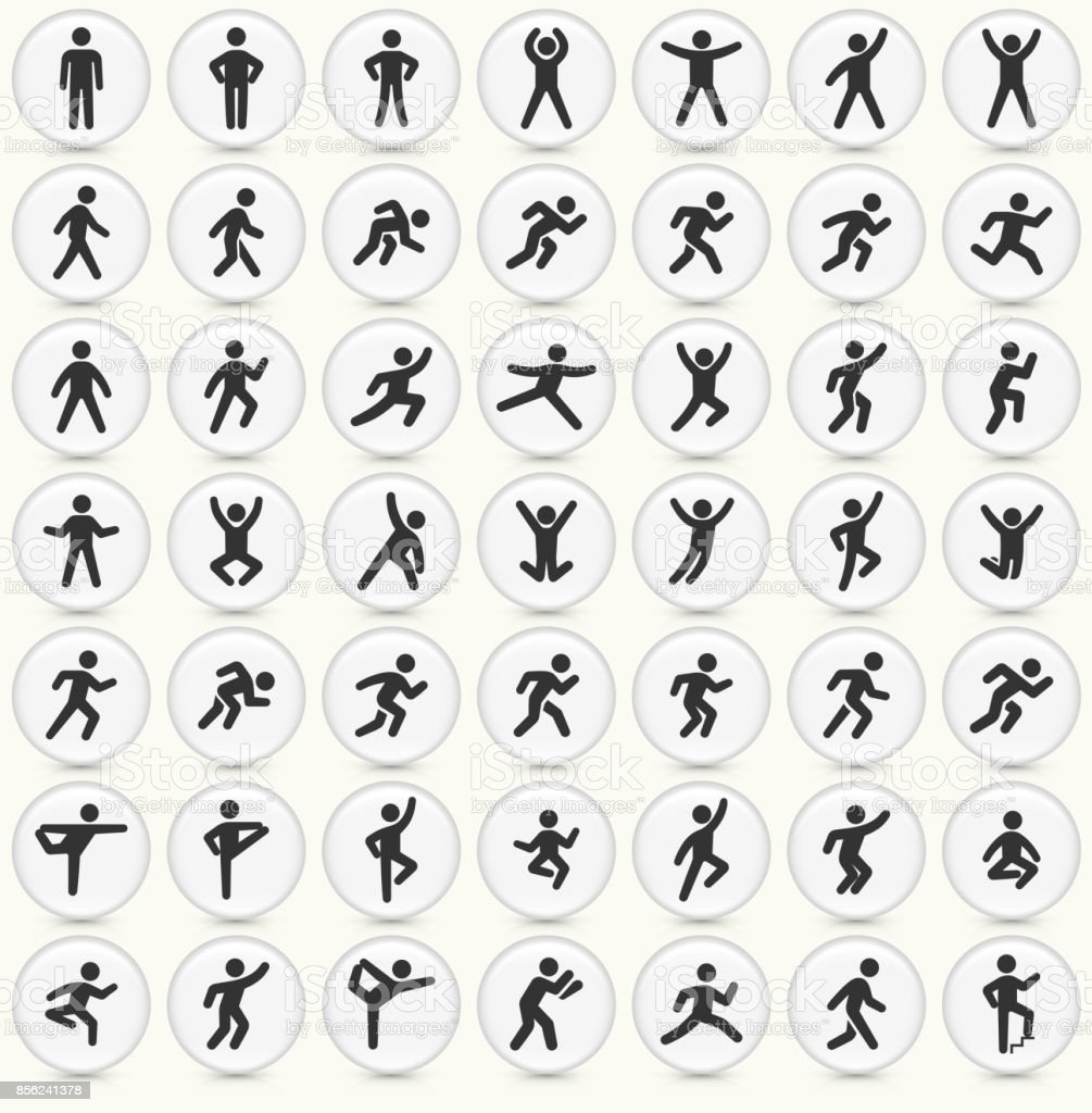 People in motion Active Lifestyle Vector Icon Set Round Buttons vector art illustration