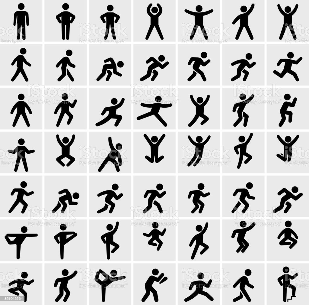 People in motion Active Lifestyle Vector Icon Set - Royalty-free 2015 arte vetorial