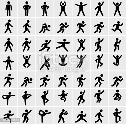 People in motion Active Lifestyle Vector Icon Set. This black and white icon set featured 49 icons of stick figure people in various positions. They are ideal to illustrate active and healthy lifestyle. Each icon is designed to be used on it's own or as part of this set.