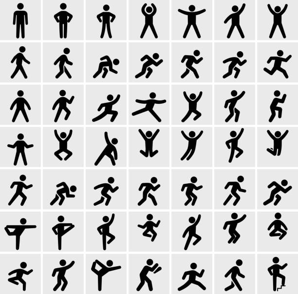 People in motion Active Lifestyle Vector Icon Set People in motion Active Lifestyle Vector Icon Set. This black and white icon set featured 49 icons of stick figure people in various positions. They are ideal to illustrate active and healthy lifestyle. Each icon is designed to be used on it's own or as part of this set. jumping stock illustrations