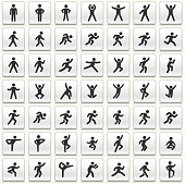 People in motion Active Lifestyle Vector Icon Set. This icon set featured 49 icons of stick figure people in various positions. They are ideal to illustrate active and healthy lifestyle. Each icon is designed to be used on it's own or as part of this set.