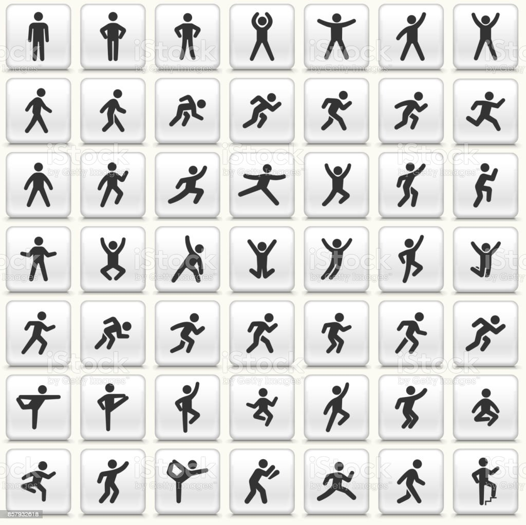 People in motion Active Lifestyle Vector Icon White Button Set vector art illustration