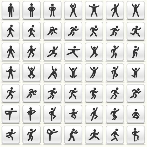 menschen in bewegung aktiven lifestyle vektor icon weiß taste set - spagat stock-grafiken, -clipart, -cartoons und -symbole