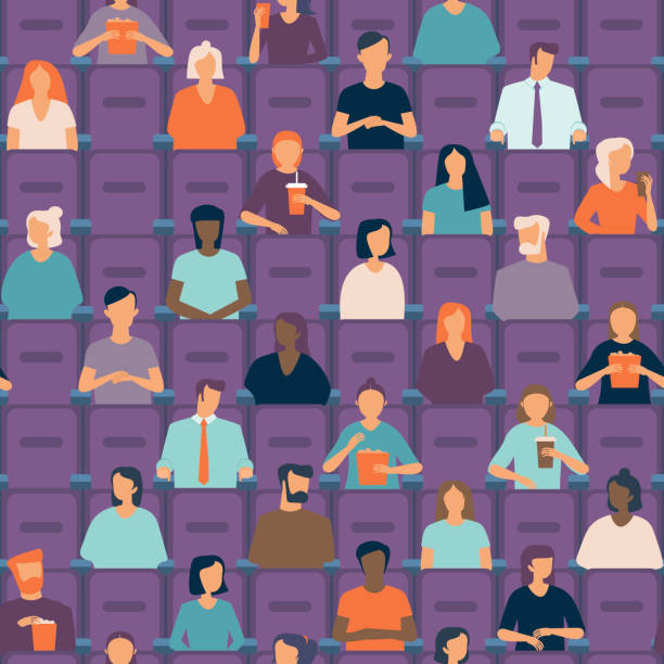 People in movie theater. Social distancing concept in public places after covid-19 coronavirus pandemic. vector art illustration