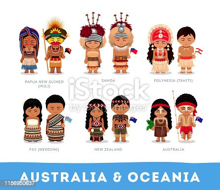 Australia & Oceania. Set of cartoon characters in traditional costume. Vector flat illustrations.