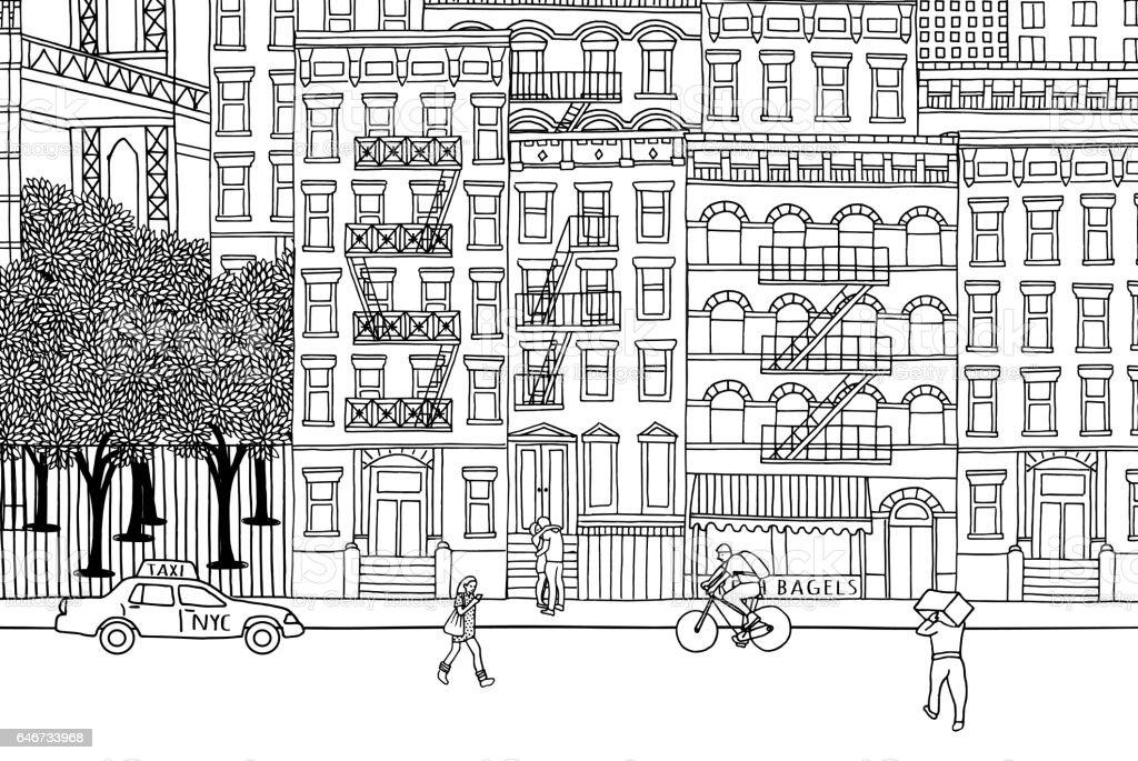 People in New York vector art illustration