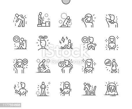 People in pain Well-crafted Pixel Perfect Vector Thin Line Icons 30 2x Grid for Web Graphics and Apps. Simple Minimal Pictogram