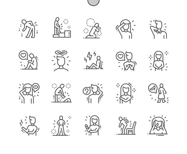 illustrazioni stock, clip art, cartoni animati e icone di tendenza di people in pain well-crafted pixel perfect vector thin line icons 30 2x grid for web graphics and apps. simple minimal pictogram - dolore fisico