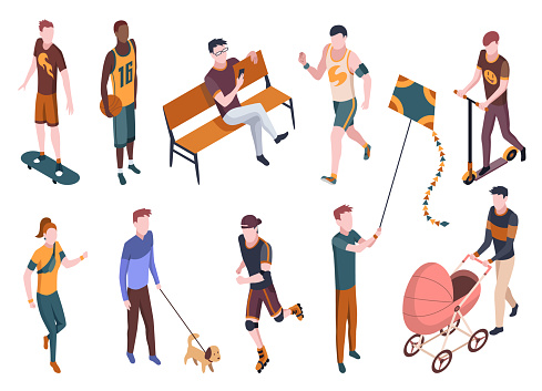 People in park isometric. Different vector characters set isolated on white. Male and female vharacters. Walking with dog, riding scooter and skateboard, sitting on bench in park