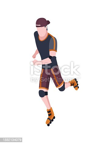 istock People in park isometric. Man an rollerblading. Active living recreation activities. Spending free time usefully. Vector character isolated on white 1332134079