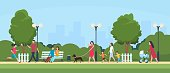 People in park. Persons leisure and sport activities outdoor. Cartoon family and kids characters in summer active park vector illustration