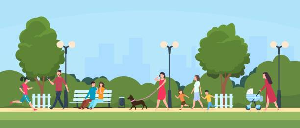 stockillustraties, clipart, cartoons en iconen met mensen in het park. personen vrijetijds-en sportactiviteiten buiten. cartoon familie en kinderen personages in summer park vector illustratie - openbaar park