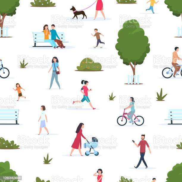 People in park seamless pattern active persons walking running in vector id1090463600?b=1&k=6&m=1090463600&s=612x612&h=knpsioaz6x7bbmga6hcmubavmnp8nsggcbhmkf1bcvi=
