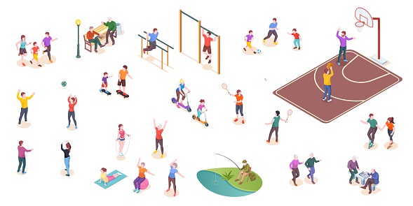 People in park, sport activity and leisure games, vector isometric isolated set. Kids playing football, tennis and volleyball, workout sport ground, family jogging, people playing chess and fishing