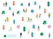 People in park vector pattern