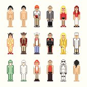 Set of people graphics in old-school pixel-art style.
