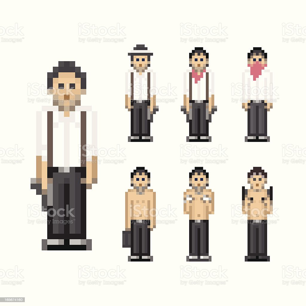 People in Pixel Art Style - Gangster royalty-free people in pixel art style gangster stock vector art & more images of 1980-1989