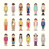 Clipart of people in old style pixelated graphics.