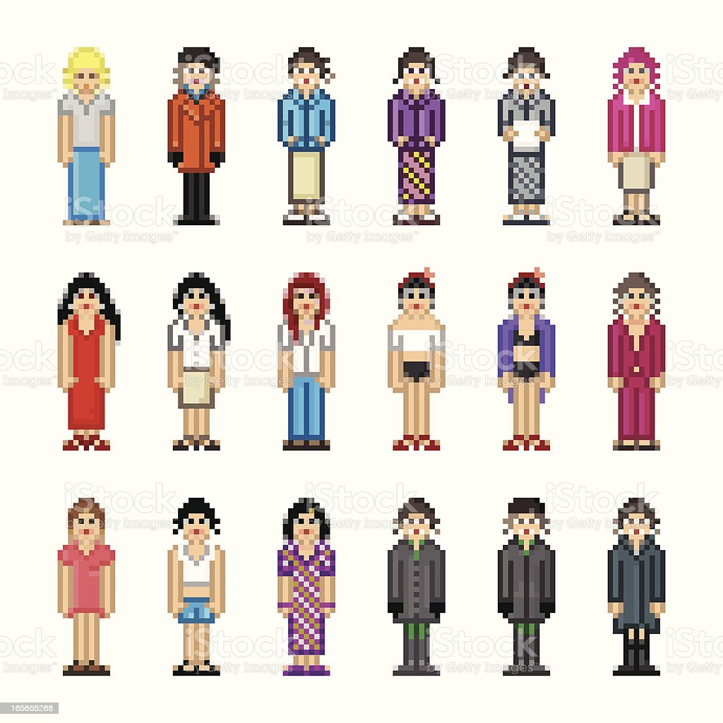 People in Pixel Art Style - Woman royalty-free people in pixel art style woman stock vector art & more images of 1980-1989