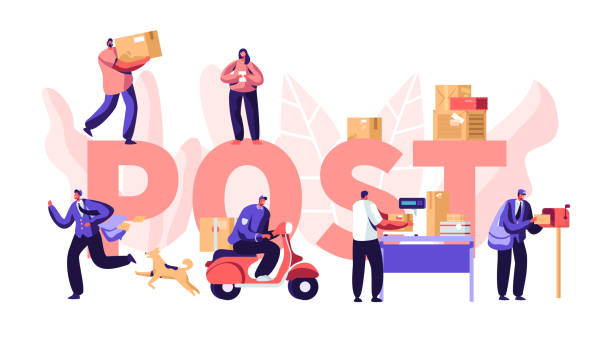 people in post office concept, postmen deliver mail packages to customers. mail delivery service, postage transportation. profession. poster, banner, flyer, brochure. cartoon flat vector illustration - postal worker stock illustrations