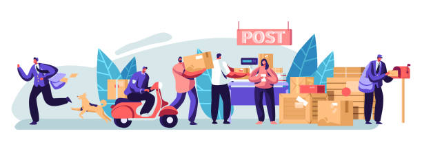 people in post office send letters and parcels. postmen deliver mail and packages to customers. mail delivery service, postage transportation. profession, occupation. cartoon flat vector illustration - postal worker stock illustrations