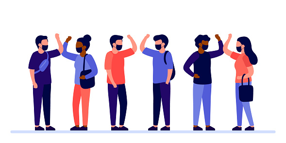 People in protective face masks greeting with elbow bump. Safe hello of to avoid spread of coronavirus. Alternative to handshake and hugging. Vector illustration