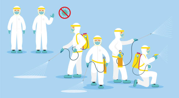 People in Protective Suit or Clothing, Spray to Cleaning and Disinfect Virus Covid-19, Coronavirus Disease, Preventive Measures antiviral drug stock illustrations