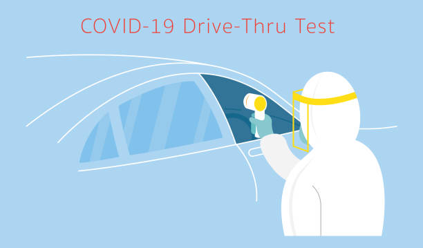 People in Protective Suit use Thermoscan to Check Covid-19 Coronavirus, Drive thru Test medical test stock illustrations