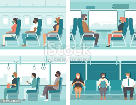 People in public transport wearing protective masks. Safe travel concept for coronavirus COVID-19 pandemic quarantine.Flat vector illustration