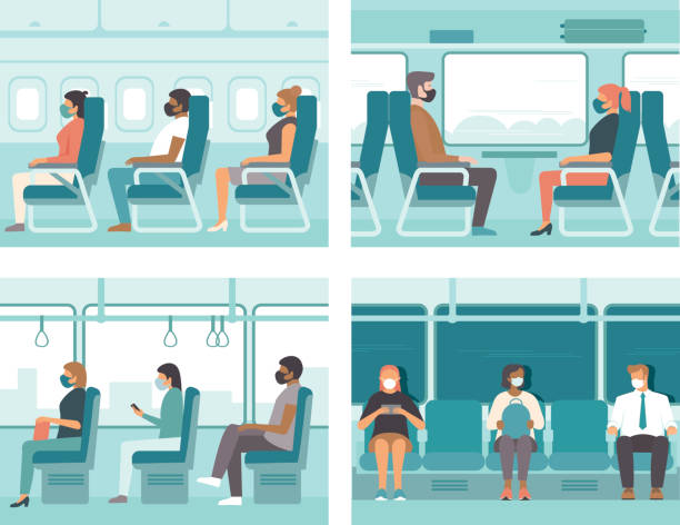 People in public transport wearing protective masks. Safe travel concept for coronavirus COVID-19 pandemic quarantine. vector art illustration