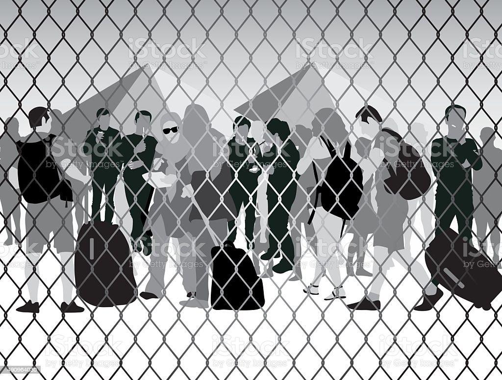 People in refugee camp vector art illustration