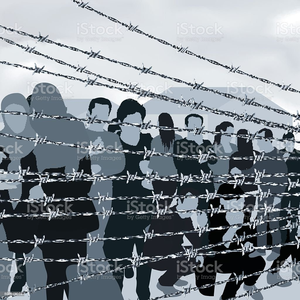 People in refugee camp vector art illustration
