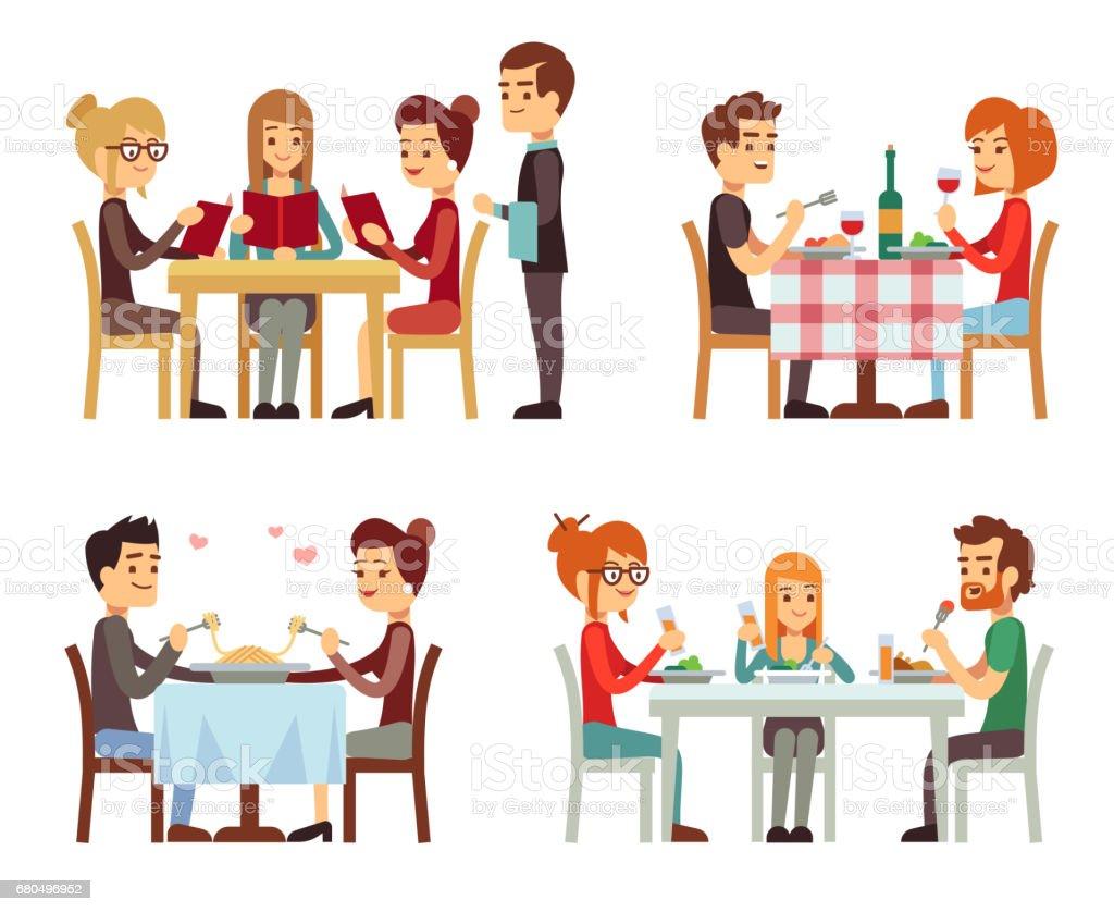 Pessoas no restaurante jantando planos conceitos de vetor - ilustração de arte em vetor