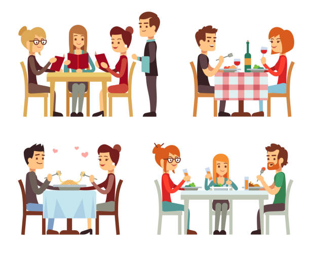 people in restaurant eating dinner vector flat concepts - family dinner stock illustrations, clip art, cartoons, & icons