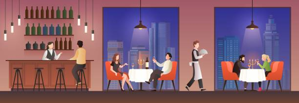 People in restaurant. Families having lunch in food court, men women meeting eating meal drink, dinner cafe buffet flat vector concept People in restaurant. Families having lunch in food court, men women meeting eating meal drink, dinner cafe buffet flat vector concept with elegant sitting couple essen stock illustrations