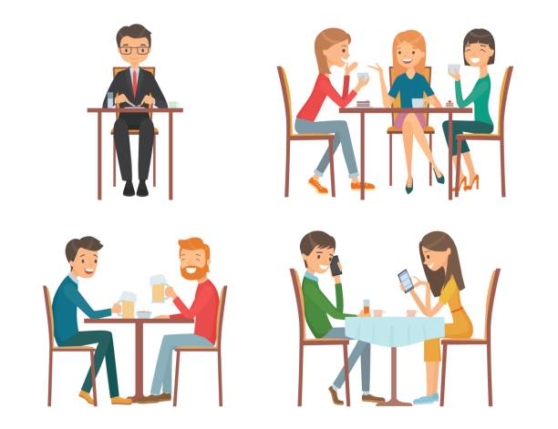 People in restaurant People in restaurant. Isolated vector illustration girlfriend stock illustrations