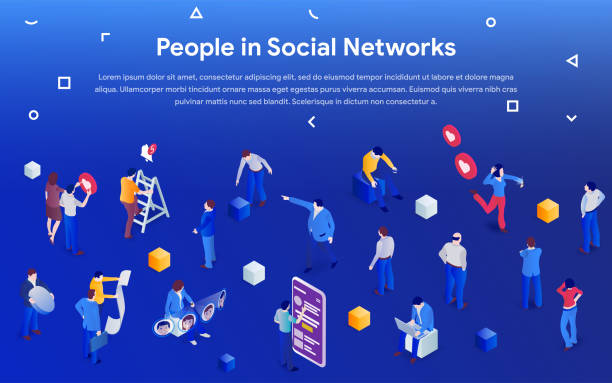 People in social media 2019. 3d isometric promotion business concept. vector art illustration