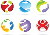 Vector Illustration of Stylized People in Sphere