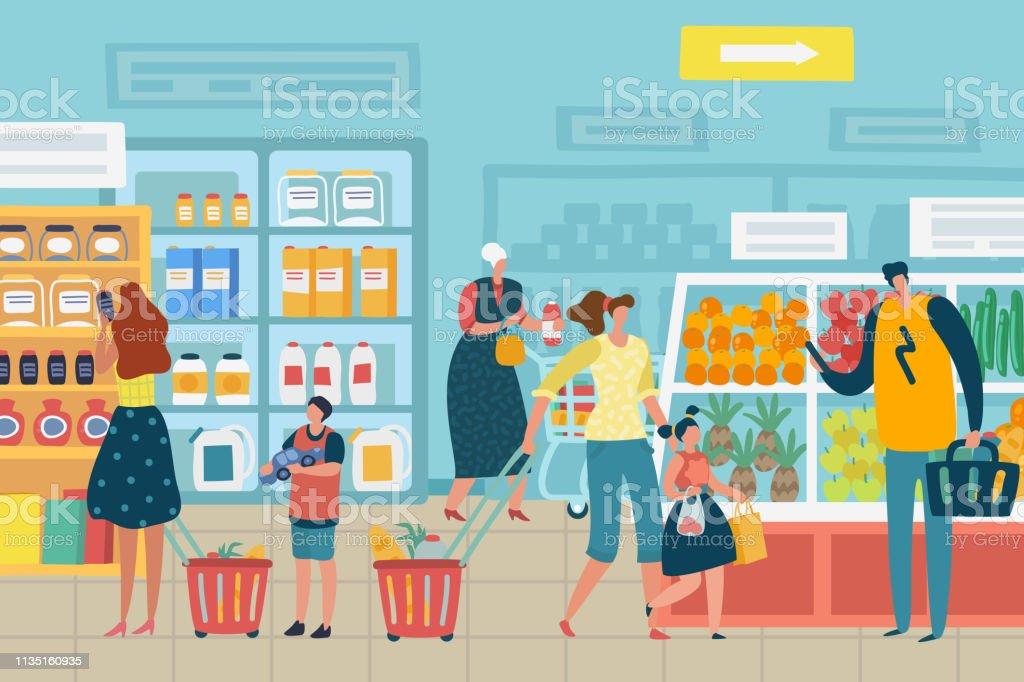 96df3f07b0 Cliente escolher comida supermercado família carrinho de compras produto  variedade mercearia conceito
