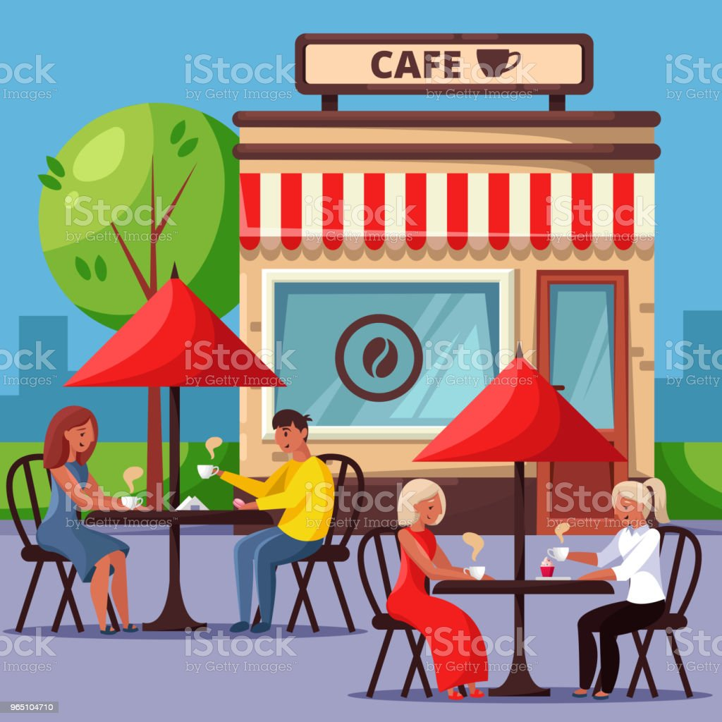 People in street cafe vector illustration. Couple drinking coffee and having breakfast. City lifestyle concept. royalty-free people in street cafe vector illustration couple drinking coffee and having breakfast city lifestyle concept stock vector art & more images of adult