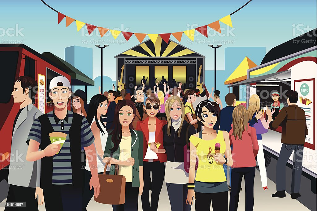 People in street food festival vector art illustration