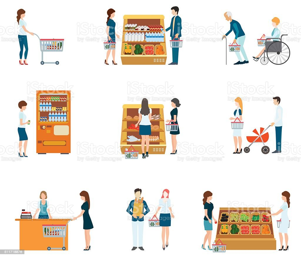 People in supermarket grocery store. vector art illustration