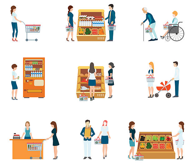 People in supermarket grocery store. People in supermarket grocery store, supermarket, people shopping, family supermarket, vector illustration. grocery aisle stock illustrations