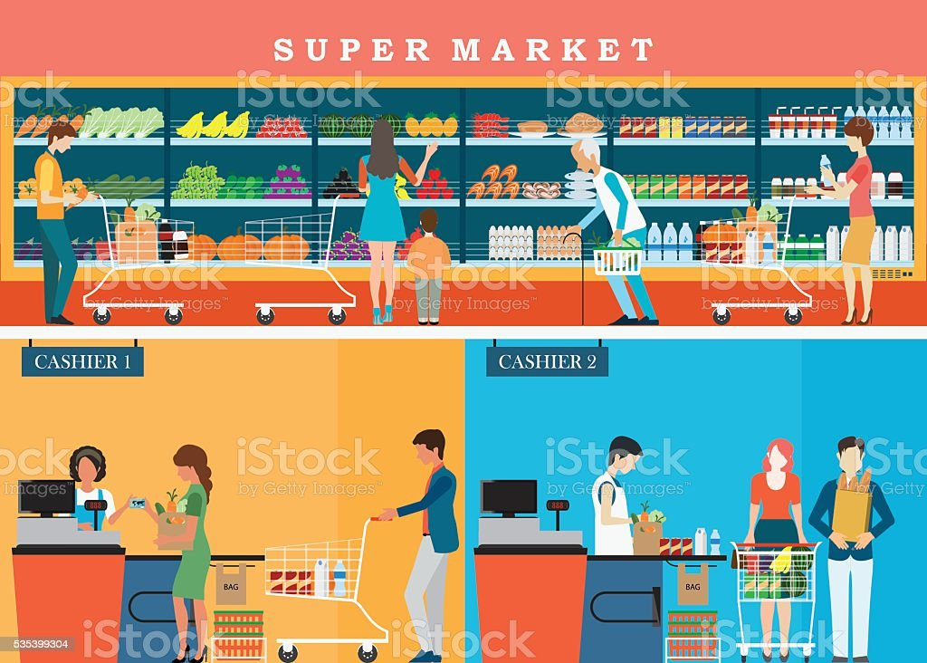 People in supermarket grocery store . vector art illustration