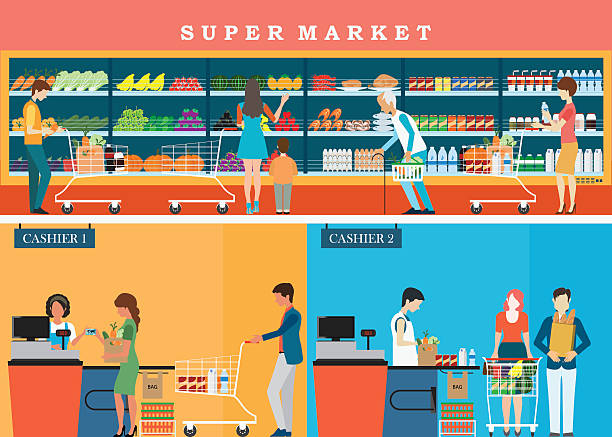 People in supermarket grocery store . People in supermarket grocery store with shopping baskets for line up to pay for shopping isolated vector illustration. grocery aisle stock illustrations