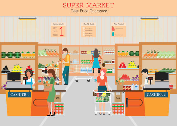 People in supermarket grocery store. People in supermarket grocery store with shopping baskets. Isolated vector illustration. grocery aisle stock illustrations