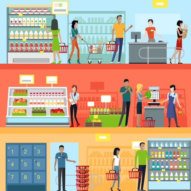 People in Supermarket Interior Design People in supermarket interior design. People shopping, supermarket shopping, marketing people, market shop interior, customer in mall, retail store illustration grocery store stock illustrations