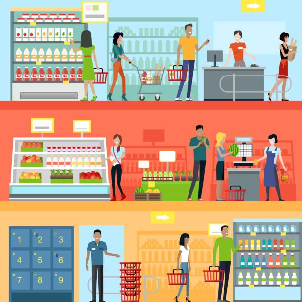 ilustraciones, imágenes clip art, dibujos animados e iconos de stock de personas en supermercado diseño interior - grocery store